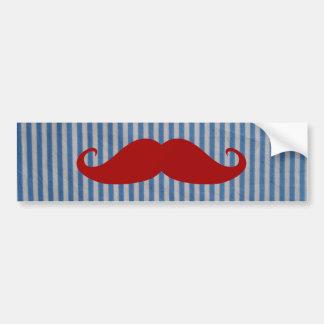 Bigode vermelho engraçado e listras brancas azuis adesivo para carro