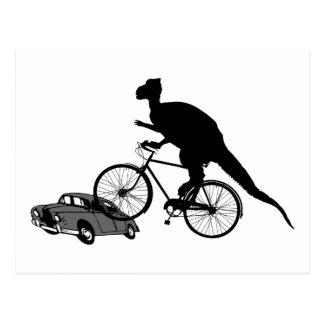 Biking engraçado do dinossauro cartões postais
