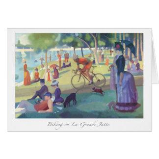 Biking no cartão grandioso de Jatte do La