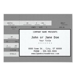 bilhete cinzento do concerto convite 8.89 x 12.7cm