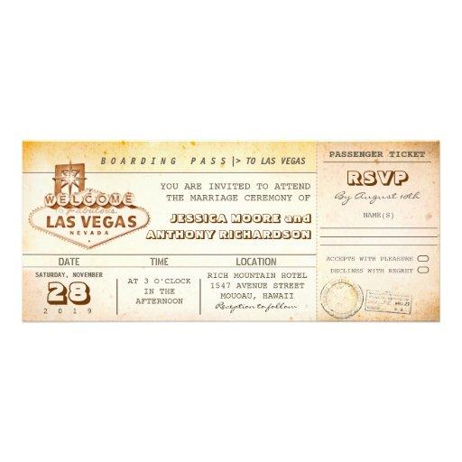 bilhete-convite LAS VEGAS do casamento da passagem