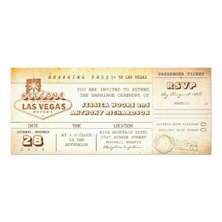 bilhete-convite LAS VEGAS do casamento da passagem Convite 10.16 X 23.49cm