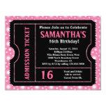 Bilhete cor-de-rosa e preto, idade do doce 16 ou convites personalizados