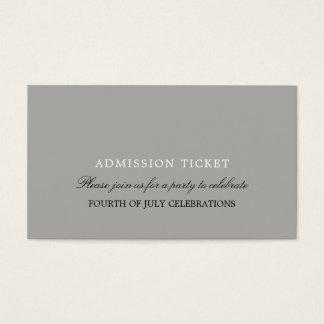 Bilhete da admissão do design simples cartão de visitas