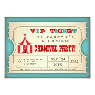 Bilhete da festa de aniversário do carnaval do convite 12.7 x 17.78cm