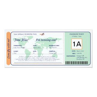 Bilhete da passagem de embarque do aniversário do convites personalizados
