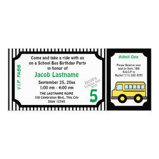 Bilhete de ônibus do aniversário do passeio do convite 10.16 x 23.49cm