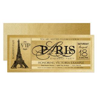 Bilhete de Paris do ouro do convite de aniversário
