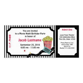 Bilhete do aniversário da noite de cinema convite 10.16 x 23.49cm