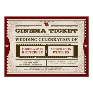 Bilhete do cinema - convite do casamento