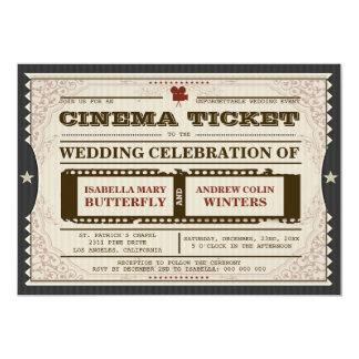 Bilhete do cinema - convite do casamento no cinza