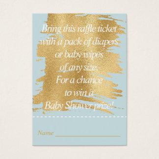 Bilhete do Raffle do chá de fraldas/azul/ouro Cartão De Visitas