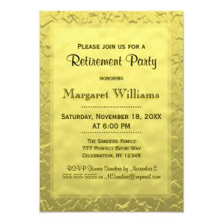 Bilhete dourado do partido de aposentadoria | convite 12.7 x 17.78cm