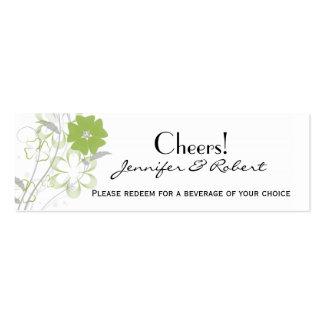 Bilhete romance de brotamento da bebida do casamen modelos cartões de visitas