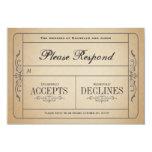 Bilhete RSVP do casamento vintage Convites Personalizados