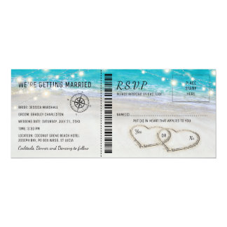 Bilhete tropical do casamento do coração da praia convite 10.16 x 23.49cm