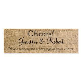 Bilhetes finos da bebida do casamento de modelo de cartões de visita