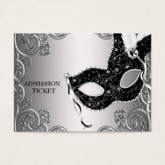 Bilhetes pretos de prata da admissão do partido do cartão de visitas