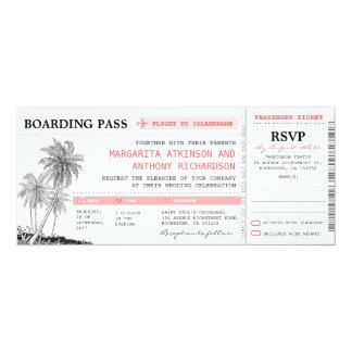 bilhetes tropicais do casamento da passagem de convites