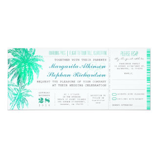 Bilhetes tropicais do casamento de praia da convite 10.16 x 23.49cm