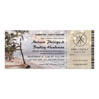 Bilhetes tropicais do casamento de praia do convite 10.16 x 23.49cm