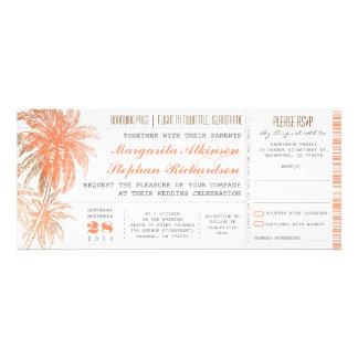Bilhetes tropicais do casamento do destino convite personalizados