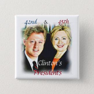Bill Clinton & Hillary Clinton_ Bóton Quadrado 5.08cm