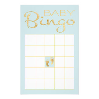 """BINGO AZUL """"ouro/clássico azul """" do chá de fraldas Flyer"""