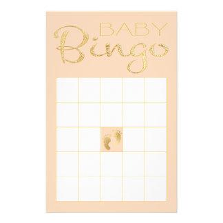 """BINGO cor-de-rosa """"ouro do chá de fraldas/clássico Flyer"""