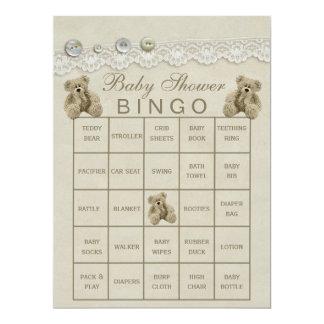 Bingo customizável pre enchido do chá de fraldas convite 16.51 x 22.22cm