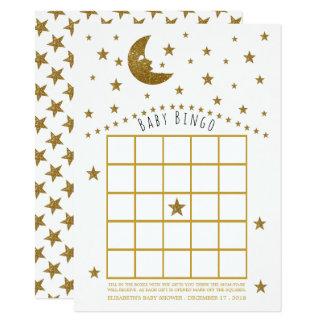 Bingo da lua do ouro e do chá de fraldas das convite 11.30 x 15.87cm