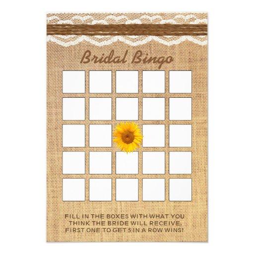 Bingo do chá de panela de serapilheira do girassol convites personalizado