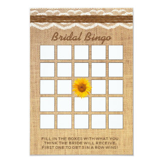 Bingo do chá de panela de serapilheira do girassol convite 8.89 x 12.7cm