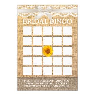 Bingo do chá de panela de serapilheira do girassol convite personalizados