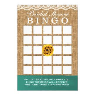 Bingo do chá de panela de serapilheira dos girassó convite personalizado