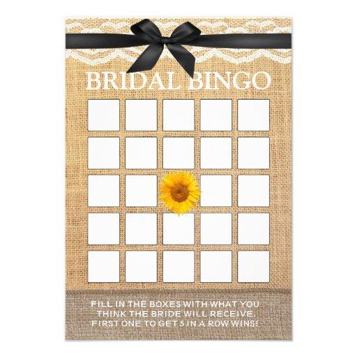 Bingo nupcial de serapilheira preta elegante do gi convite personalizado