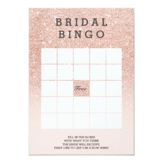 Bingo nupcial do rosa cor-de-rosa do brilho do convite 12.7 x 17.78cm