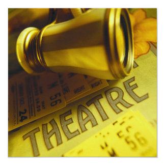 Binóculos do teatro convite quadrado 13.35 x 13.35cm