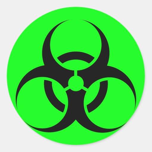 Bio perigo ou verde de advertência do símbolo do adesivo redondo