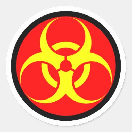 biohazard adesivo em formato redondo