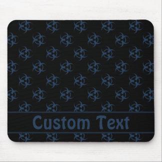 Biohazard preto e azul Mousepad com texto feito