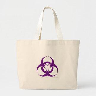Biohazard roxo do amor bolsas para compras