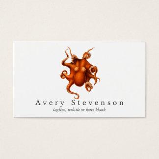 Biologia marinha do polvo vermelho do vintage cartão de visitas