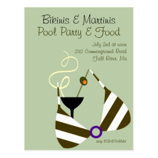Biquinis e convite da festa na piscina dos