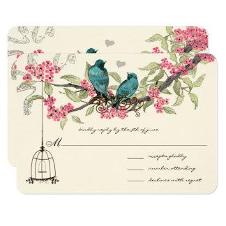 Birdcage cor-de-rosa das flores de cerejeira dos convite 8.89 x 12.7cm
