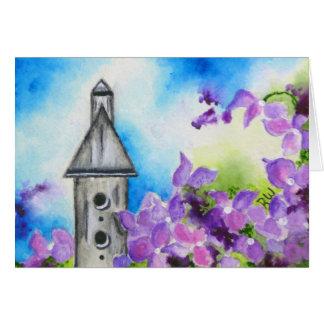Birdhouse & cartão dobrado Hydrangea da nota
