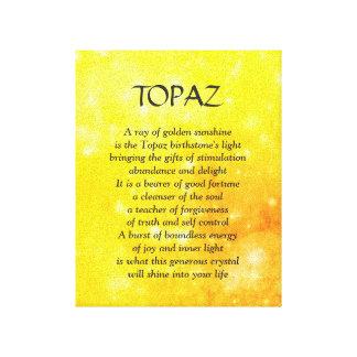 Birthstone do topázio - canvas de arte do poema de