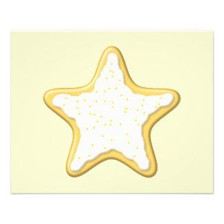 Biscoito congelado da estrela. Amarelo e creme Panfletos Personalizados