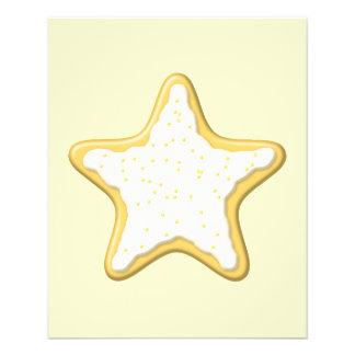 Biscoito congelado da estrela. Amarelo e creme Panfleto