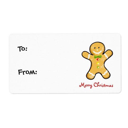 Biscoito do homem de pão-de-espécie do Natal Etiqueta De Frete